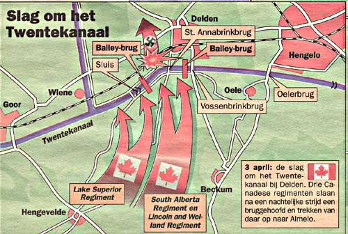 Kaart Slag Twenthekanaal, 4-4-1945